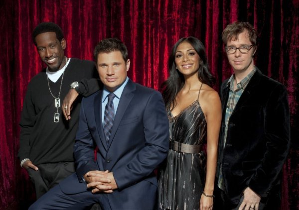 THE SING OFF -- Pictured: (l-r) Shawn Stockman, Nick Lachey, Nicole Scherzinger, Ben Folds -- NBC Photo: Chris Haston