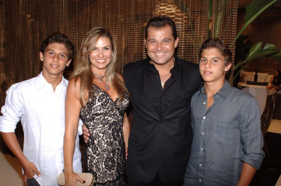 Lais & Paulo Bacchi with 2 sons at Artefacto Design House 2011 Grand Opening at Village of Merrick Park showroom. John Stillman Photography