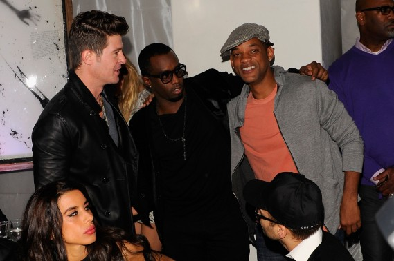 "Robin Thicke, Sean Diddy Combs and Will Smith attend Andy Valmorbida, Jimmy Iovine, And Sean ""Diddy"" Combs, Celebrate Culo By Mazzucco, Presented By VistaJet at Mr. Chow's on December 2, 2011 in Miami, Florida.  (Photo by Andrew H. Walker/Getty Images for Andy Valmorbida)"