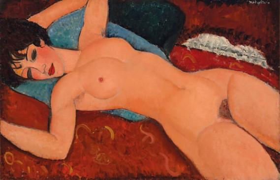 "Amedeo Modigliani's ""Nu Couché"" (1917-18). Credit via Christie's"