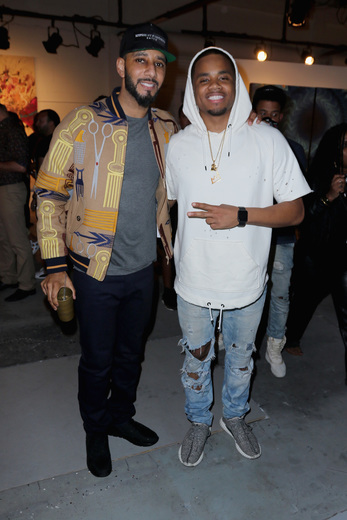 MIAMI, FL - DECEMBER 02: (L-R) Swizz Beatz and Mack Wilds attend No Commission Art Fair & Untameable House Party Concert Series Presented By BACARDI X The Dean Collection - VIP Press Preview on December 2, 2015 in Miami, Florida. (Photo by John Parra/Getty Images for Bacardi)