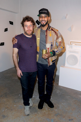 MIAMI, FL - DECEMBER 02: (L-R) Artist Dustin Yellin and recording artist/producer Swizz Beatz attend No Commission Art Fair & Untameable House Party Concert Series Presented By BACARDI X The Dean Collection - VIP Press Preview on December 2, 2015 in Miami, Florida. (Photo by John Parra/Getty Images for Bacardi)