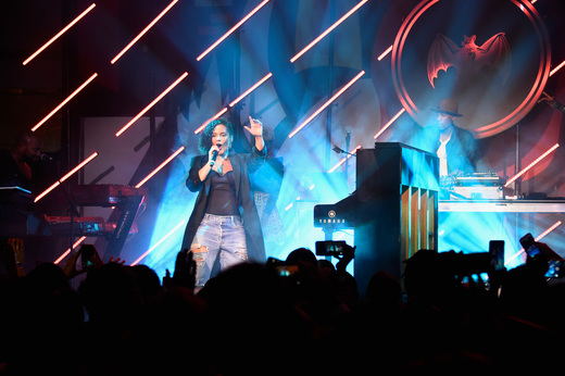 Singer Alicia Keys performs onstage at The Dean Collection X BACARDI Untameable House Party on December 3, 2015 in Miami, Florida.