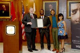 (L-R) Memphis Mayor Jim Strickland, actors Aldis Hodge, Alano Miller, Amirah Vann