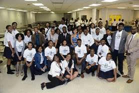 Actors Alano Miller, Aldis Hodge, Amirah Vann and Power Center Academy students, faculty and administrators;