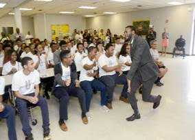 Actor Aldis Hodge and Power Center Academy Students