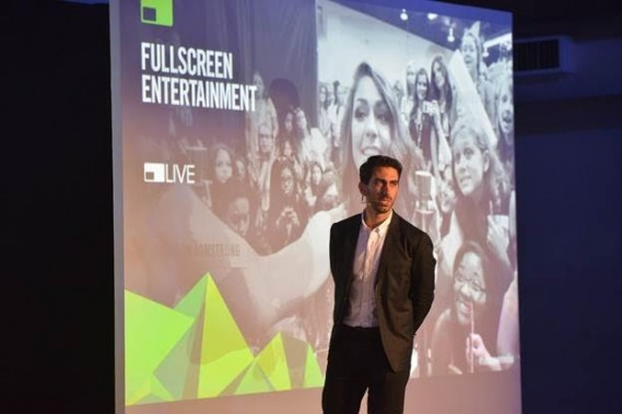 Fullscreen Media Founder and CEO George Strompolos presents at the Fullscreen Media NewFront event at the Altman Building on Monday, May 9, 2016, in New York.