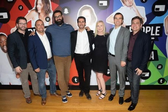 From left, Burnie Berns, Kevin McGurn, Billy Parks, George Strompolos, Maureen Polo, Pete Stein, and Jason Klarman attend the Fullscreen Media NewFront event at the Altman Building on Monday, May 9, 2016 in New York.