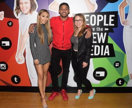From left, Eva Gutowski, Brandon Armstrong and Laci Green attend the Fullscreen Media NewFront event at the Altman Building on Monday, May 9, 2016 in New York.
