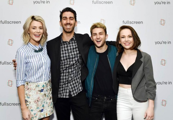 "(L-R) Grace Helbig (star of Fullscreen's new original series ""Electra Woman & Dyna Girl""), George Strompolos (Founder & Chief Executive Officer, Fullscreen), TWAIMZ (star of Fullscreen's daily sketch show ""Party in the Back"") & Alexis G. Zall (star of Fullscreen's new daily programming show ""Zall Good with Alexis G. Zall"") at Fullscreen's SVOD unveiling event at Fullscreen's NYC headquarters on April 25, 2016."