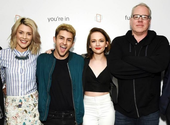 "(L-R) Grace Helbig (star of Fullscreen's new original series ""Electra Woman & Dyna Girl""), TWAIMZ (star of Fullscreen's daily sketch show ""Party in the Back"") & Alexis G. Zall (star of Fullscreen's new daily programming show ""Zall Good with Alexis G. Zall"") & Bret Easton Ellis (writer/director of upcoming Fullscreen original series 'The Deleted') at Fullscreen's SVOD unveiling event at Fullscreen's NYC headquarters on April 25, 2016."
