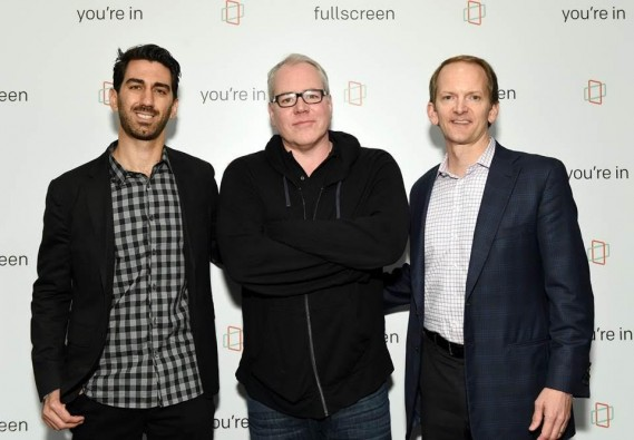 (L-R) George Strompolos (Founder & CEO of Fullscreen), Bret Easton Ellis (writer/director of upcoming Fullscreen original series 'The Deleted') & David Christopher (Chief Marketing Officer, AT&T) at Fullscreen's SVOD unveiling event at Fullscreen's NYC headquarters on April 25, 2016.