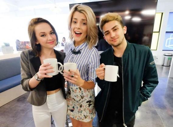 "(L-R) Alexis G. Zall (star of Fullscreen's new daily programming show ""Zall Good with Alexis G. Zall""), Grace Helbig (star of Fullscreen's new original series ""Electra Woman & Dyna Girl"") & TWAIMZ (star of Fullscreen's daily sketch show ""Party in the Back"") at Fullscreen's SVOD unveiling event at Fullscreen's NYC headquarters on April 25, 2016."