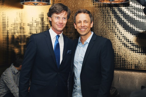 Seth Meyers with TV Guide Magazine President Paul Turcotte at a party celebrating the new issue of TV Guide Magazine at The Living Room at The W New York - Times Square. CREDIT: MK Photography