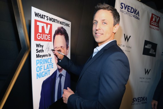 NEW YORK, NY - JUNE 14:  Seth Meyers attends TV Guide Magazine Celebrates New Cover Star Seth Meyers at The Living Room at The W New York - Times Square at The Living Room at The W New York - Times Square on June 14, 2016 in New York City.  (Photo by Sylvain Gaboury/Patrick McMullan via Getty Images)