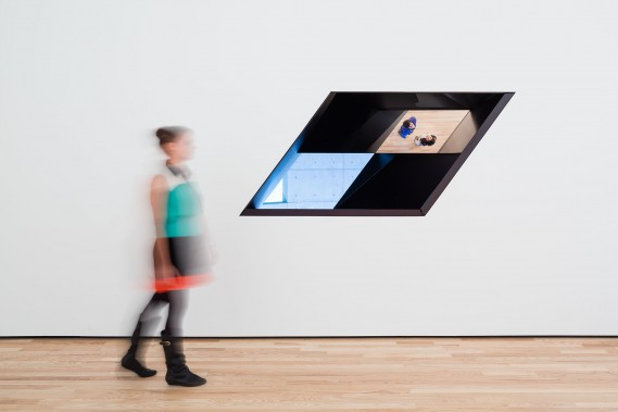 Sarah Oppenheimer, W-120301, 2012 Aluminum, glass, and existing architecture. Dimensions variable. Installation view: Baltimore Museum of Art.