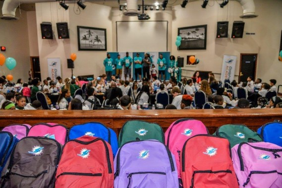 Miami Dolphins Host Back to School Backpack Event
