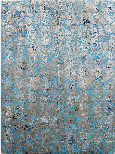 HUGO MCCLOUD innate saturation, 2016 Lot Number 1 Aluminum foil, aluminum coating, and oil paint on tar paper 72 x 53 in (182.88 x 134.62 cm) Signed on verso Estimate $35,000 - $40,000
