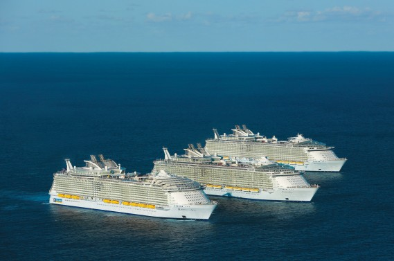 Royal Caribbean International's Oasis-class ships, Oasis of the Seas, Allure of the Seas and the new Harmony of the Seas, struck a chord today, greeting each other at sea for the first and possibly only time.