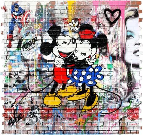 Mr. Brainwash (B. 1966 - ) Mickey & Minnie, 2016 Stencil and Mixed Media on Fiberglass Brick Wall, 96 x 102 inches (Contessa Gallery)