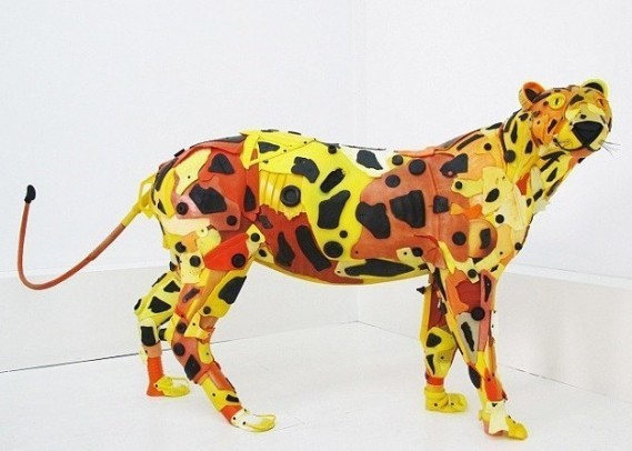 Gilles Cenazandotti (B. 1966 - ) Leopard, 2016, Sculpture with Objects Lost and Found from the Sea, 32 x 62 x 16 inches (Contessa Gallery)