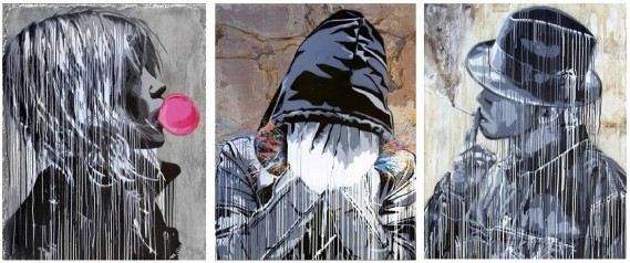 L-R: Hijack (B. 1992 - ) Bubble Gum Girl, 2016, Stencil and Acrylic on Cement, 57 x 45 inches, Splatter, 2016, Stencil and Acrylic on Metal, 57 x 45 inches, Smoke, 2016, Stencil and Acrylic on Drywall, 57 x 45 inches (C) 2016 HIJACK. All Rights Reserved. (Contessa Gallery)