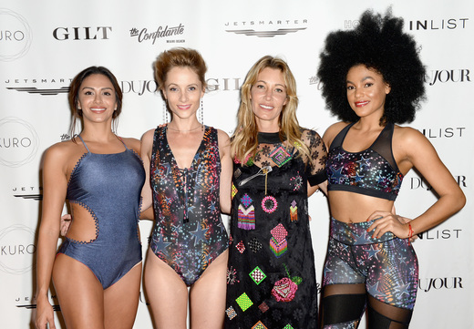 Models in Hollie Watman swimwear attend the DuJour Media, Gilt & JetSmarter party to kick off Art Basel at The Confidante on November 30, 2016 in Miami Beach, Florida. (Photo by Gustavo Caballero/Getty Images for DuJour)