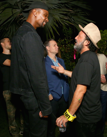 NBA player Chris Bosh and artist Mr. Brainwash attend the DuJour Media, Gilt & JetSmarter party to kick off Art Basel at The Confidante on November 30, 2016 in Miami Beach, Florida. (Photo by Astrid Stawiarz/Getty Images for DuJour)