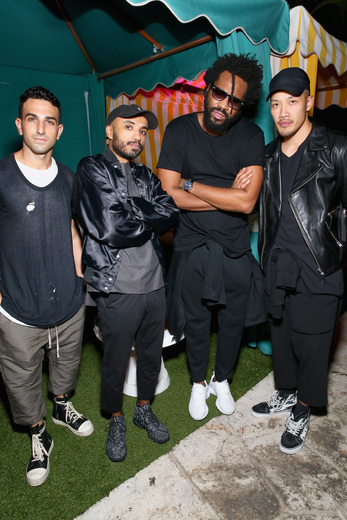 (L-R) AE Collective CMO Erik Yehezkel, DJ Ibe Soliman, designer Maxwell Osborne and designer Dao-Yi Chow attend the DuJour Media, Gilt & JetSmarter party to kick off Art Basel at The Confidante on November 30, 2016 in Miami Beach, Florida. (Photo by Astrid Stawiarz/Getty Images for DuJour)