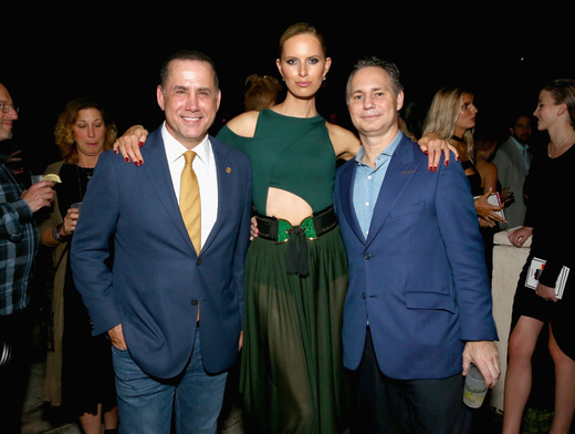 (L-R) Mayor of Miami Beach Philip Levine, model Karolina Kurkova, and Jason Binn attend the DuJour Media, Gilt & JetSmarter party to kick off Art Basel at The Confidante on November 30, 2016 in Miami Beach, Florida. (Photo by Astrid Stawiarz/Getty Images for DuJour)