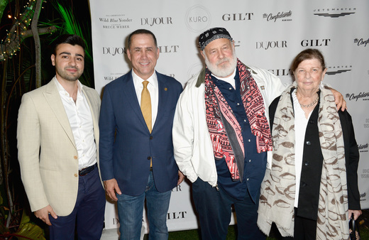 Founder of DuJour Jason Binn, CEO of JetSmarter Sergey Petrossov, Mayor of Miami Beach Philip Levine, Bruce Weber and Nan Bush attend the DuJour Media, Gilt & JetSmarter party to kick off Art Basel at The Confidante on November 30, 2016 in Miami Beach, Florida. (Photo by Gustavo Caballero/Getty Images for DuJour)