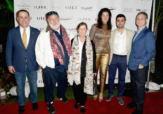 Mayor of Miami Beach Philip Levine, Bruce Weber, Nan Bush, Lolita Petrossov, CEO of JetSmarter Sergey Petrossov and Founder of DuJour Jason Binn attend the DuJour Media, Gilt & JetSmarter party to kick off Art Basel at The Confidante on November 30, 2016 in Miami Beach, Florida. (Photo by Gustavo Caballero/Getty Images for DuJour)