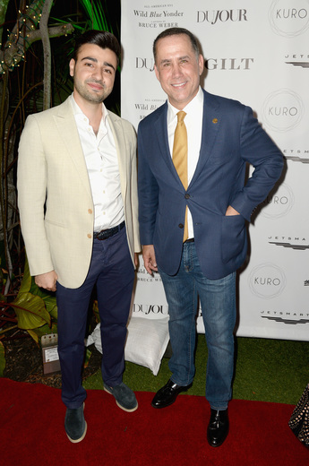 CEO of JetSmarter Sergey Petrossov and Mayor of Miami Beach Philip Levine attend the DuJour Media, Gilt & JetSmarter party to kick off Art Basel at The Confidante on November 30, 2016 in Miami Beach, Florida. (Photo by Gustavo Caballero/Getty Images for DuJour)