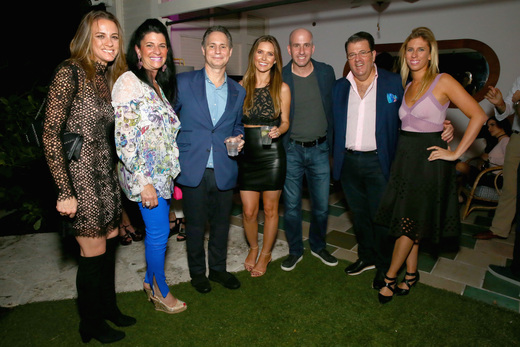 Chief Merchant Filt Kristen Sosa, Ellen Feldenkreis, Founder of DuJour Jason Binn, Audrina Patridge, President Filt Jonathan Greller, CEO of Parry Ellis Oscar Feldenkreis, Alexandra Lasky attend the DuJour Media, Gilt & JetSmarter party to kick off Art Basel at The Confidante on November 30, 2016 in Miami Beach, Florida. (Photo by Astrid Stawiarz/Getty Images for DuJour)