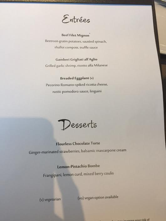 Azamara Club Cruises-Azamara Quest Aqualina restaurant menu