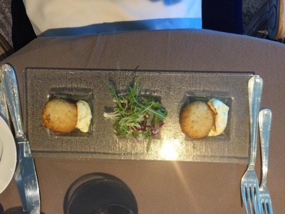 Maryland lump crab cakes with crispy fennel salad, tartar sauce