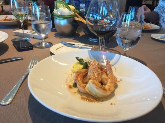 Gamberi Grigliati all'Aglio Grilled garlic shrimp, risotto alla Milanese