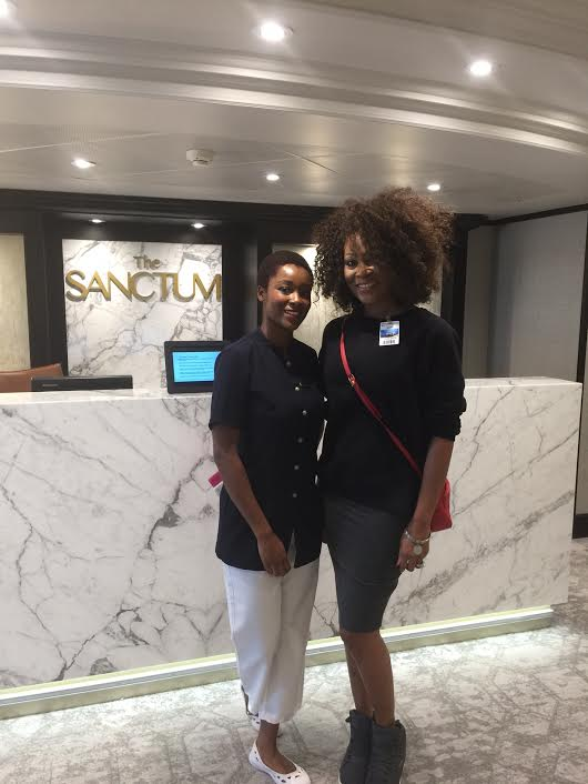 Azamara Club Cruises-Azamara Quest spa specialist, Babedi with Daedrian McNaughton