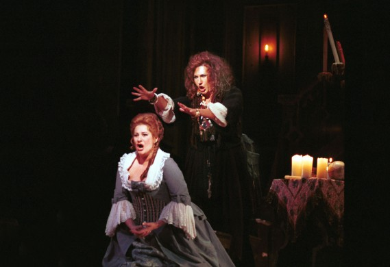 Miami Dade County; Florida Grand Opera winds up this season with the opera, A Masked Ball by VERDI, Singing key roles are (L) Claire Rutter as ,AMELIA and  Patrizia Palelmo as  ULRICA the sorceress. The opera opens 4/30/05. Please credit Photo by John Pineda 4/27/05