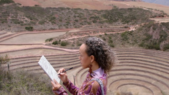 Paula Wilson traveling in Peru is one of four artists venturing worldwide seeking creative inspiration for their artwork and who will be featured in Marriott International's upcoming documentary series StoryBooked™. (Marriott International, Inc.)