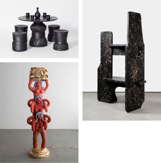 Imbizo/ Chuma Maweni, 2018/ Southern Guild Perma Collection/  Marcin Rusak, 2018/ Sarah Myerscough Gallery Unique Triple Girl Floor Lamp/ Katie Stout, 2018/ R & Company