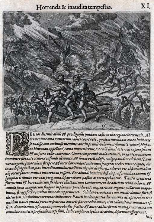 Bry, Theodor de, 1528-1598. Horrenda & inaudita tempestas. [Frankfurt : De Bry, 1594.]  Plate 11 from Part IV of the Grands Voyages, first published in 1594 with German or Latin text.  In June 1495, a hurricane struck the tiny Spanish settlement of Isabella, on the coast of Hispaniola. It was the first hurricane to be witnessed by Europeans in the New World.  This is the earliest known picture of a hurricane.  All rights reserved by the source institution. Credit: HistoryMiami, 2008-215-1  Image no. 2008-215-1