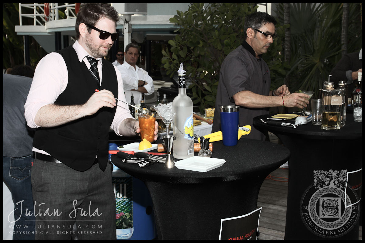 Contestants at their stations at the Ocean Drive Magazine Mixologist Masters 2010 Event at the Raleigh Hotel in Miami