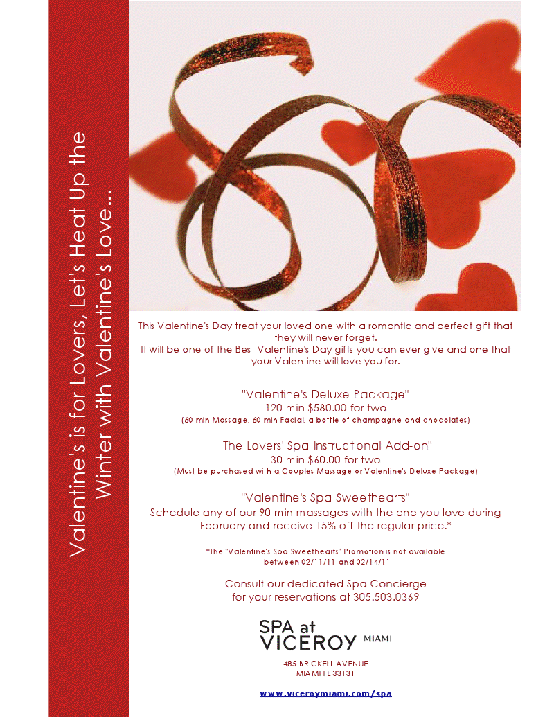 Valentine S Day At The Spa At Viceroy Miami Premier Guide Miami
