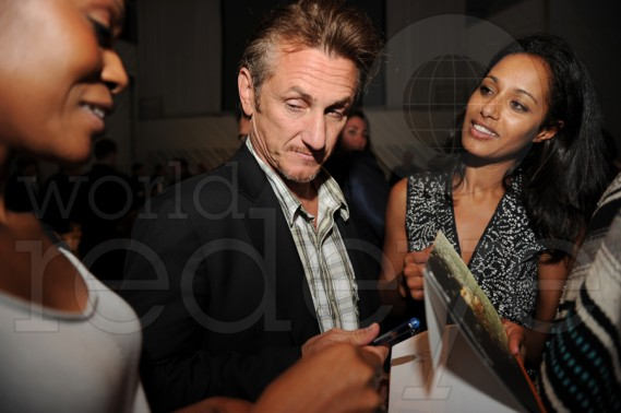 Sean Penn at Art Basel Miami Beach -Daedrian McNaughton and Rula Jebreal