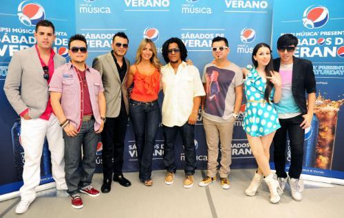 Sabados de Verano participating artists Alacranes Musical, Belanova, Melina Leon and Tego Calderon.