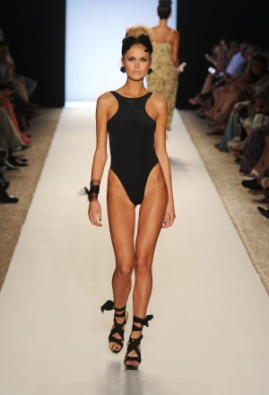 A model walks the runway at the White Sands Australia show during Mercedes-Benz Fashion Week Swim at The Raleigh on July 15, 2011 in Miami Beach, Florida.