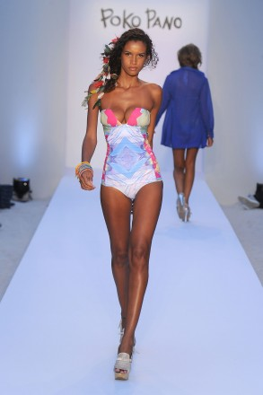 A model walks the runway at the Poko Pano show during Mercedes-Benz Fashion Week Swim at The Raleigh on July 15, 2011 in Miami Beach, Florida.