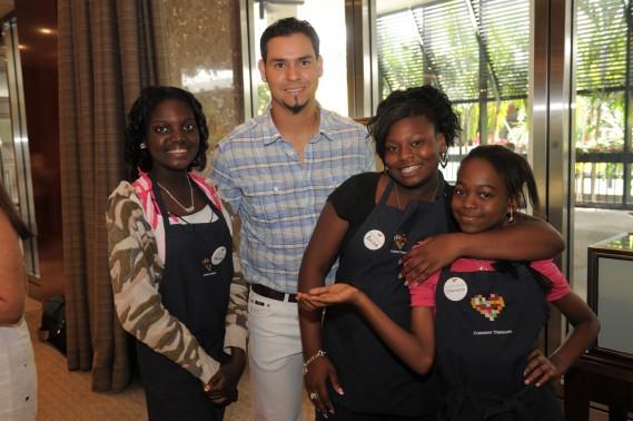 Florida Marlins Pitcher Anibal Sanchez, Common Threads Children Shamara Zerphir, Anise Doudou, Melissa Dubisson