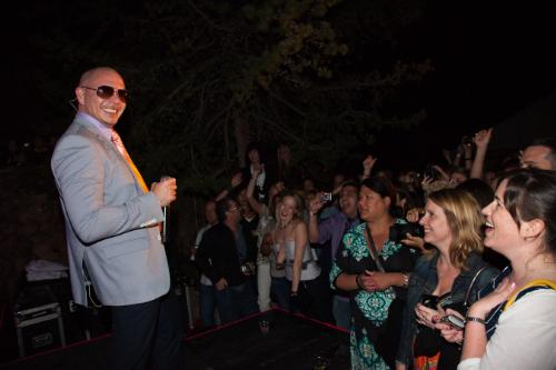 Pitbull, Mr. Worldwide, delivers an electrifying performance for spirits, bar and restaurant industry influencers at an exclusive party hosted by Voli Light Vodkas and importer Palm Bay International during 29th Annual Food and Wine Classic in Aspen.
